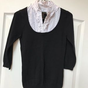 Black F21 sweater w/ mock white polka dot